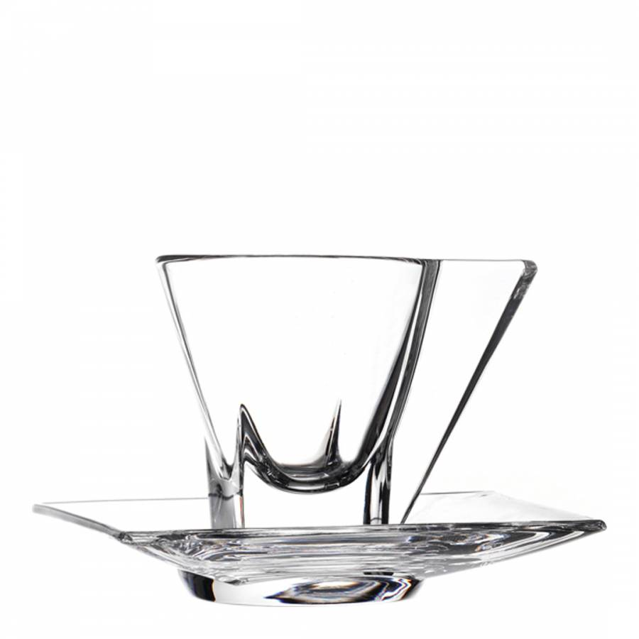 Glass espresso coffee cups uk - Set Of 2 Clear Crystal Fusion Espresso Coffee Cups Saucers Brandalley