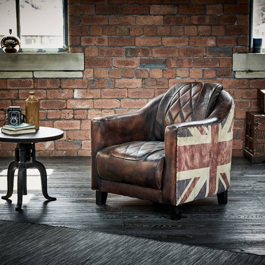 Jack Leather Chair: Brown/Multi Union Jack Leather Armchair