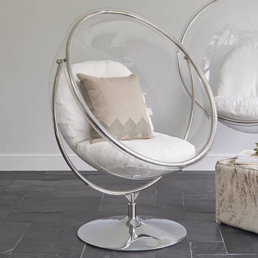 ivory clear bubble inspired chair on floor stand brandalley. Black Bedroom Furniture Sets. Home Design Ideas