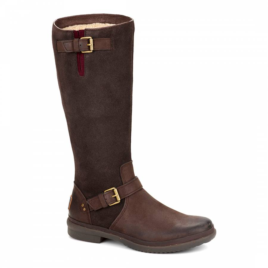 brown thomsen suede and leather sheepskin lined boots