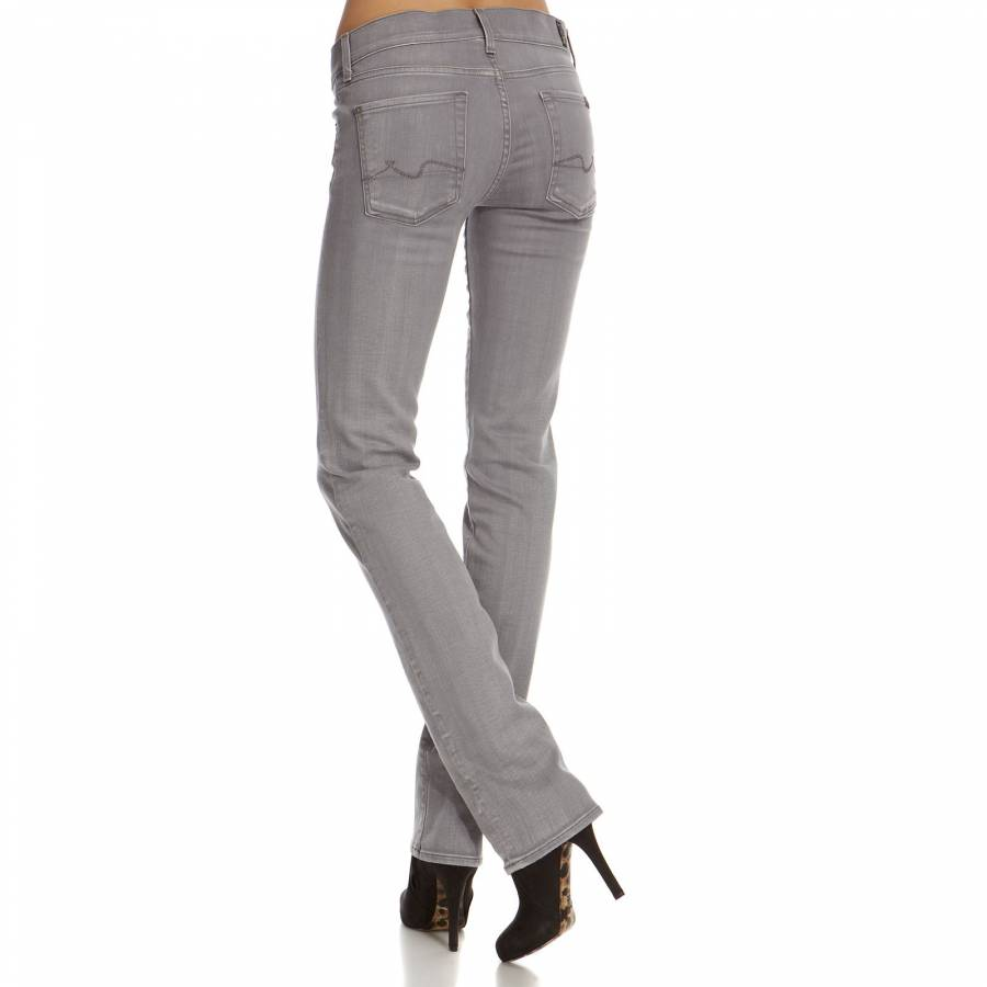 Women's Grey Straight Leg Cotton Blend Jeans 34