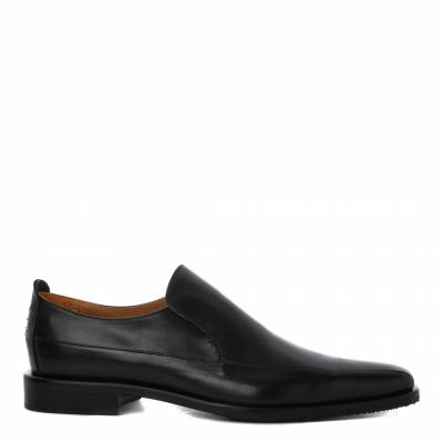 Black Leather Popoli Slip On Shoes