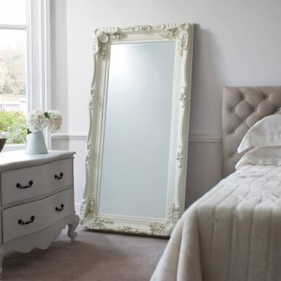 Cream Carved Louis Leaner Mirror 69 x 35.5 inches