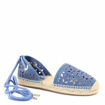 Blue Perforated Floral Cotton Espadrilles