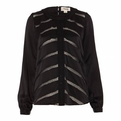 Black Cambon Embroidered Silk Blend Top
