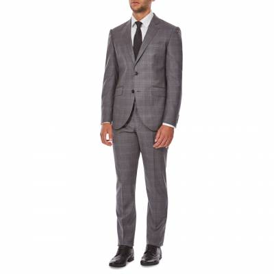 Mid Grey/Blue Mayfair Check Wool Suit