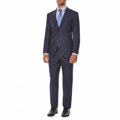 Navy Modern Nailshead Wool Suit