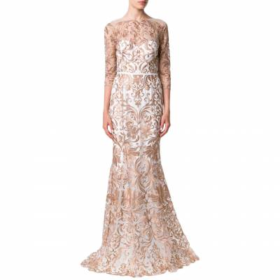 Ivory Metallic Embroidered Tulle Gown