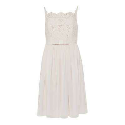 Baby Pink Mimee Lace Bodice Midi Dress