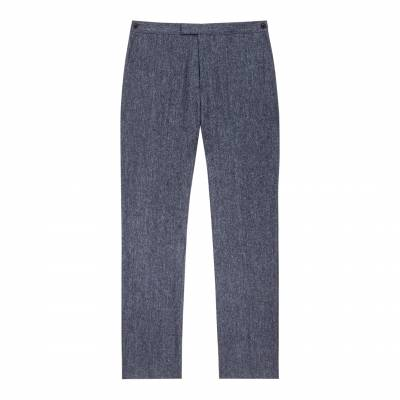 Blue Woollen Tailored Suit Trousers