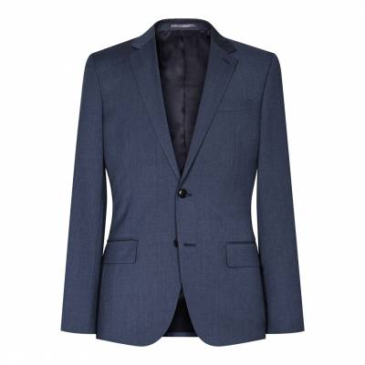 Blue Wool Blend Slim Fit Tailored Suit Jacket