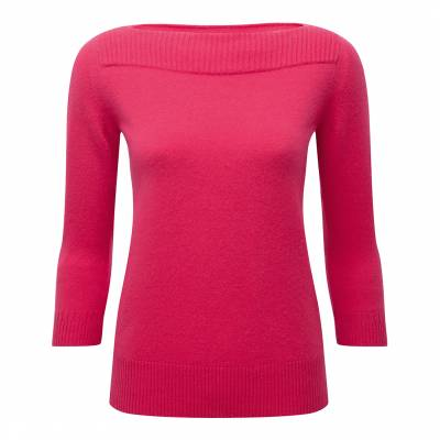 Bright Pink Boat Neck Cashmere Sweater