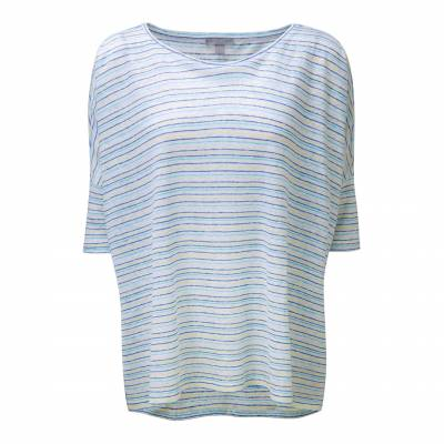 Blue and Lime Stripe Luxury Linen Poncho