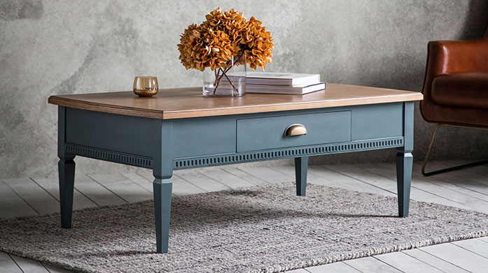 Country Living by Gallery Add an air of country living chic to your interiors with Gallery's range of wooden coffee tables, chest of drawers, dining sets and display units.