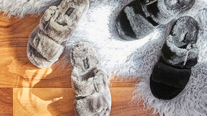 Slippers & Slides Keep comfy at home during the warm summer months wearing a pair of cool sheepskin slippers or designer slides.