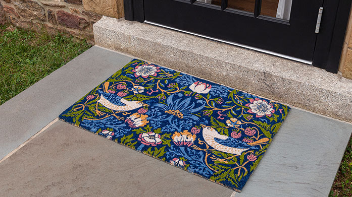 Entryways Doormats: V&A & More Brighten up your home exteriors with a fun, vibrant doormat by Entryways. You'll find nautical stripes, geometric prints and even a flamingo or two!