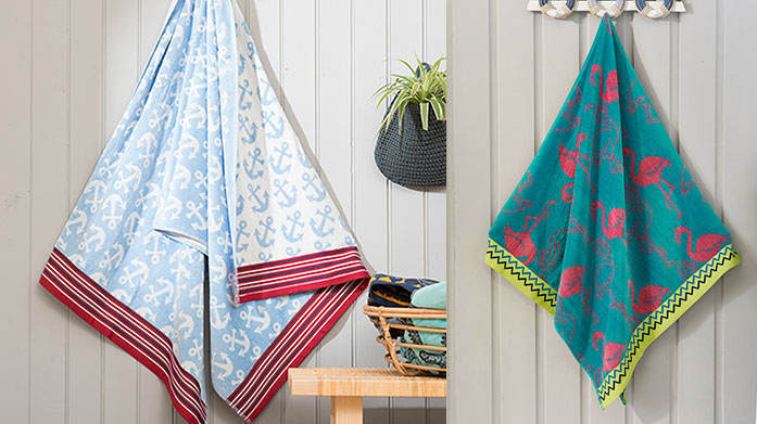 Sunbathe in Style: Towels Make the most of the sunshine by sunbathing in luxury and stye with a new beach towel from Deyongs or Dock & Bay. Summer starts right now!
