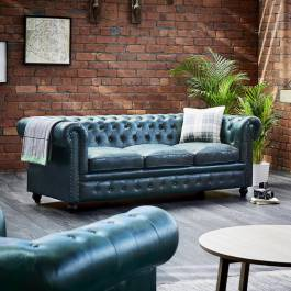 Bottle Green Leather Chesterfield 3 Seater Sofa