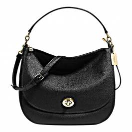 19f90cb61338 Black Pebble Leather Turnlock Hobo Bag - BrandAlley