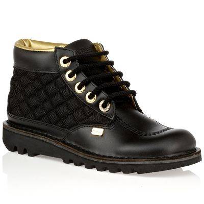 14ab93d15800 Women's Black Kick Hi Dia Quilted Leather Ankle Boots - BrandAlley
