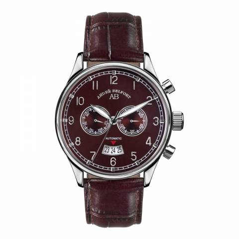 Andre Belfort Men's Brown/Silver Leather/Stainless Steel Watch