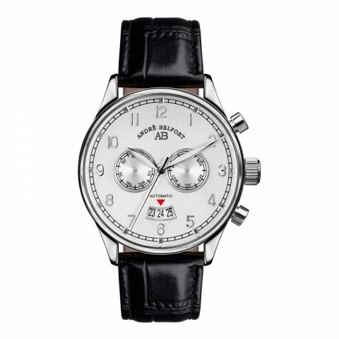 Andre Belfort Men's Black/White Leather/Stainless Steel Watch