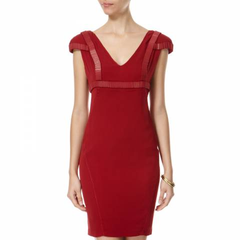 Leon Max Collection Burgundy Short Sleeve Dress With Beading