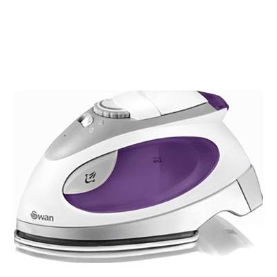Swan Purple/White Travel Iron with Pouch
