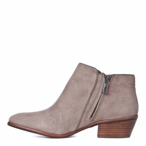 Beige Suede Low Rise Ankle Boots 4 5cm Heel Brandalley