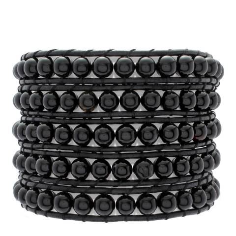 Lucie & Jade Black Row Bead Leather Bracelet