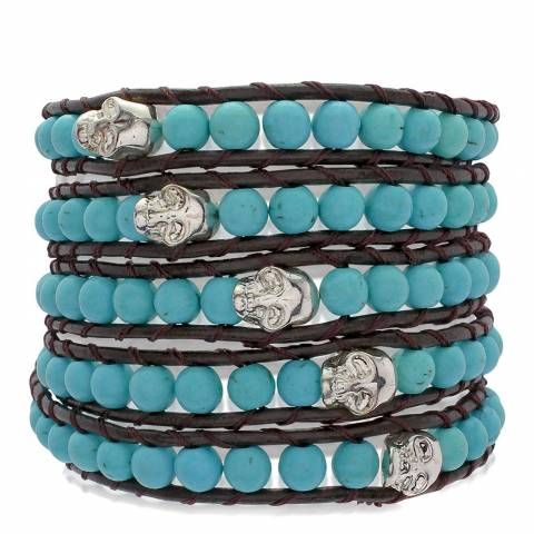 Lucie & Jade Black/Turquoise Leather Five Layered Bracelet