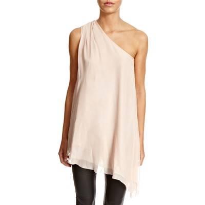 bc0a9e203fce3 Blush One Shoulder Chiffon Silk Top - BrandAlley