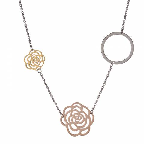 Chloe Collection by Liv Oliver Gold/Silver Rose and Clover Necklace