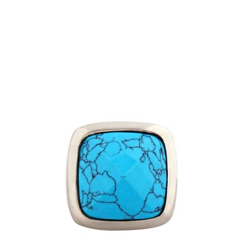 Alexa by Liv Oliver Silver/Turquoise Cushion Ring