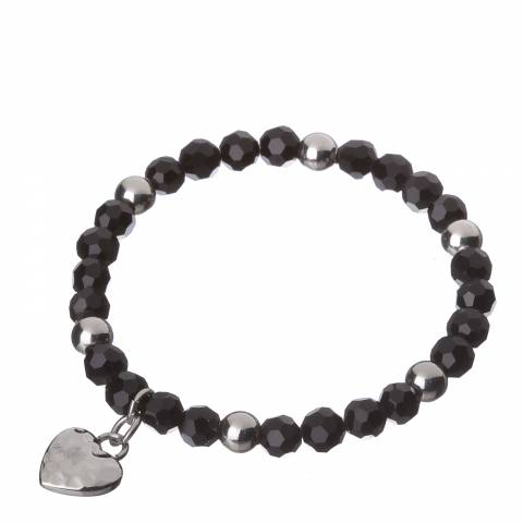 Alexa by Liv Oliver Silver/Black Heart Charm Bracelet