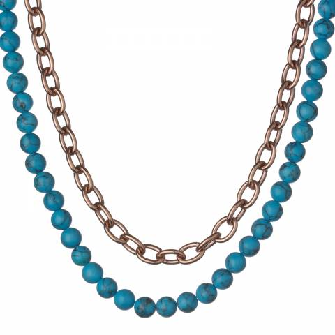 White label by Liv Oliver Rose Gold/Turquoise Double Chain Necklace 18ct