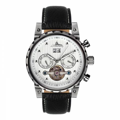 Richtenburg Men's Black/Silver Stainless Steel/Leather Newport Watch