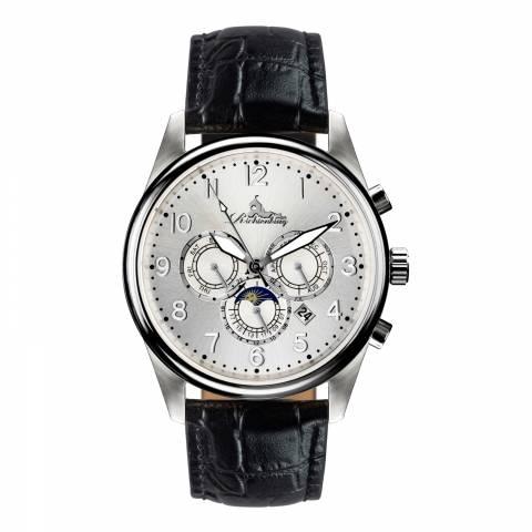 Richtenburg Men's Black/Silver Stainless Steel/Leather Athen Watch