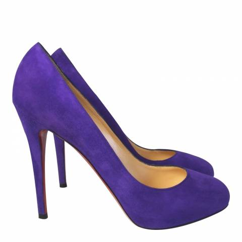 Christian Louboutin Purple Suede Decollete Court Shoes 10cm Heel