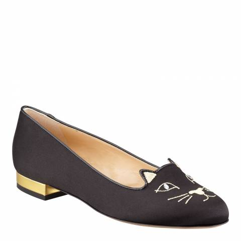 Charlotte Olympia Black Silk Embroidered Kitty Slipper Pumps