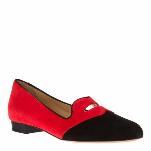 Charlotte Olympia Red/Black Suede Bisoux Slipper Pumps