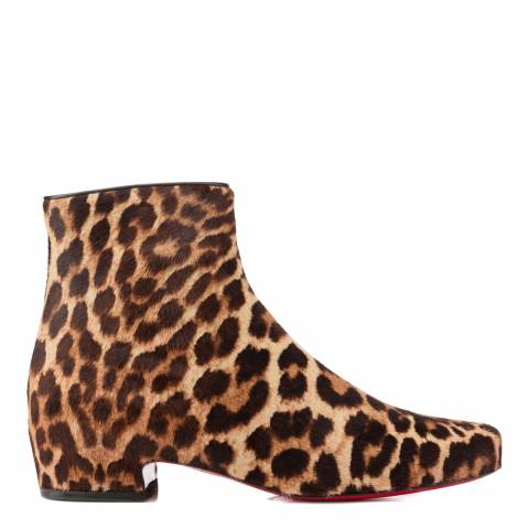 Christian Louboutin Tan/Brown Leather Leopard Ankle Boots