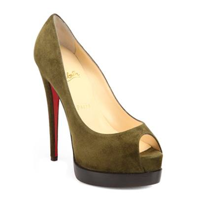 Christian Louboutin Brown Suede Peep-Toe Platform Shoes 14cm Heel
