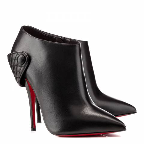 Christian Louboutin Black Leather Quilted Strap Ankle Boots 12cm Heel