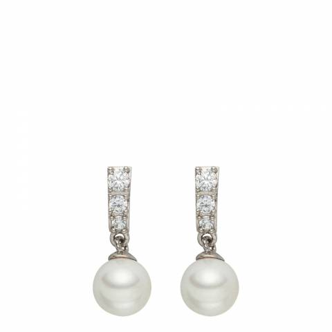 Pearls of London White/Silver Pearl/Crystal Drop Earrings