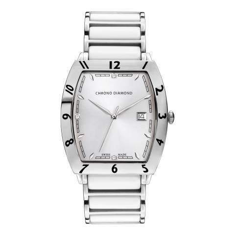 Chrono Diamond Unisex White Stainless Steel Leandro Watch