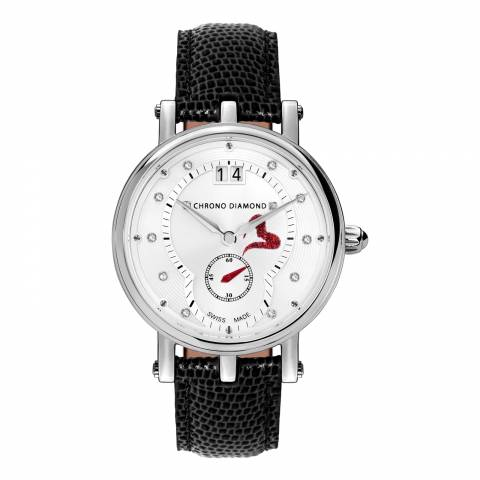 Chrono Diamond Women's Silver/Black Leather Ariadne Watch