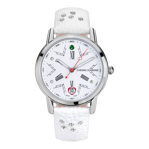 Chrono Diamond Women's White/Silver Leather Brisa Watch