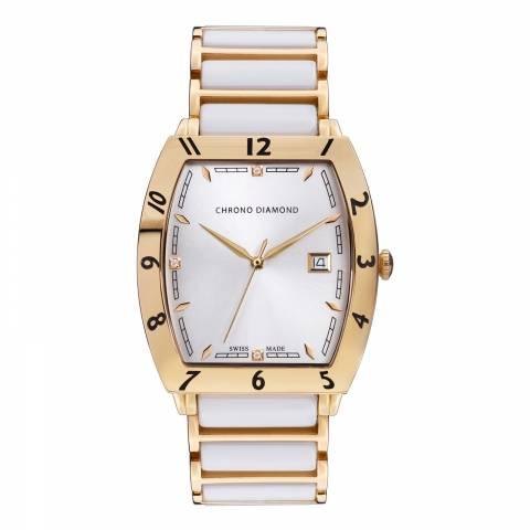 Chrono Diamond Men's Gold/White Stainless Steel Leandro Watch