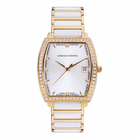 Chrono Diamond Men's Gold/White Damenuhr Leandra Watch